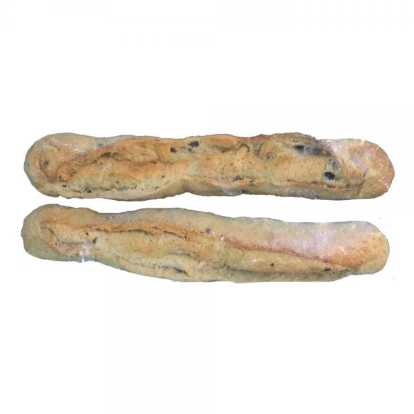 Baguette Rústica de Aceitunas prehorneado x 2 sin azúcar sin azúcar Philippe Panaderia y Pasteleria saludable