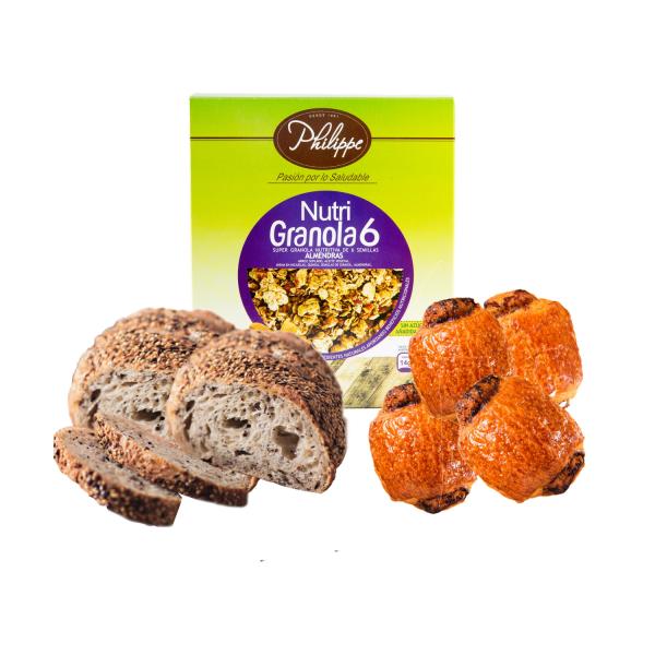 Kit- Desayuno Familiar sin azúcar Philippe Panaderia y Pasteleria